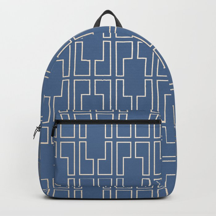 Simply Mid-Century in White Gold Sands and Aegean Blue Backpack