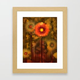 Abstract flowers in golden light Framed Art Print