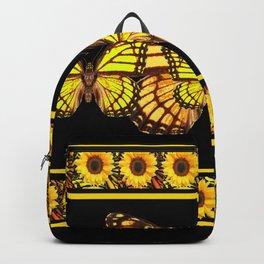 YELLOW MONARCH BUTTERFLIES & SUNFLOWERS BLACK ART Backpack