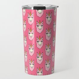 Llamacorn - doodle llama unicorn pattern in pink Travel Mug