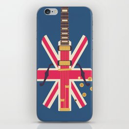 Union Jack Flag Guitar - Navy iPhone Skin