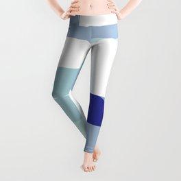 Minimal Bauhaus Semi Circle Geometric Pattern 3 - Blue #buyart #society6 #minimalart Leggings