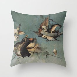 Hieronymus Bosch flying ships and creatures Throw Pillow