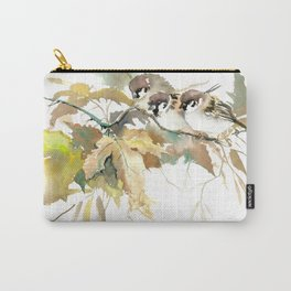 Sparrows and Fall Tree Carry-All Pouch