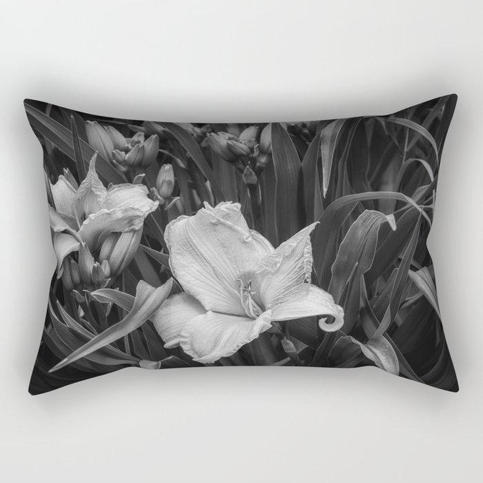 Orange Daylilies bw Rectangular Pillow