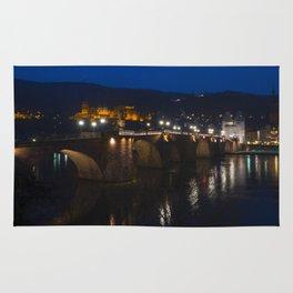 Heidelberg Bridge and Castle by Night Rug