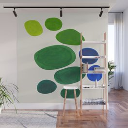 Mid Century Modern Abstract Minimalist Fun Colorful Shapes Yayoi Kusama Lime Green Blue Bubbles Wall Mural