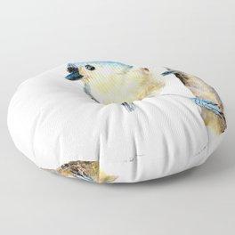 Tufted Titmouse by Teresa Thompson Floor Pillow