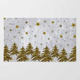 Sparkly Christmas tree, stars, moons on abstract paper Rug