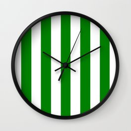 Green (HTML/CSS color) - solid color - white vertical lines pattern Wall Clock