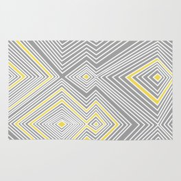 White, Yellow, and Gray Lines - Illusion Rug