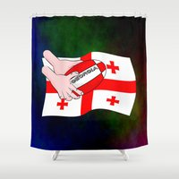 rugby Shower Curtains featuring Rugby Georgia Flag by mailboxdisco