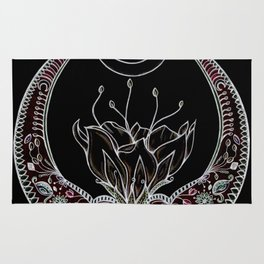 Moon Flower at Midnight in Black and Color Rug