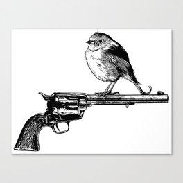 Colt Peacemaker and bird - Weapon - Gun - Ironic - Peace - Pop Culture Canvas Print