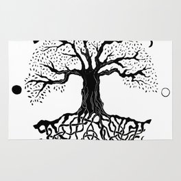 black and white tree of life with moon phases and celtic trinity knot II Rug