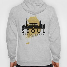 SEOUL SOUTH KOREA SILHOUETTE SKYLINE MAP ART Hoody