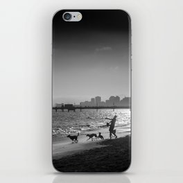Dogs chasing ball at Rosie's Dog Beach Long Beach CA iPhone Skin
