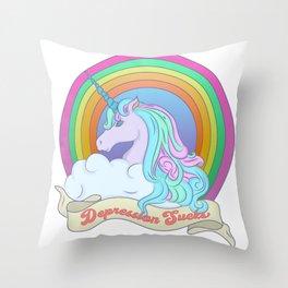 Depression Sucks Throw Pillow