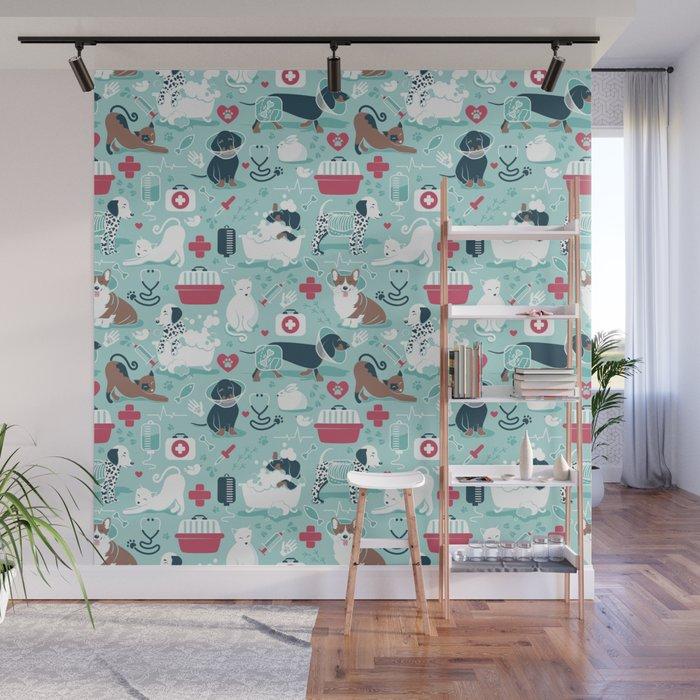 Veterinary medicine, happy and healthy friends // aqua background Wall Mural