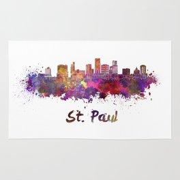 Saint Paul skyline in watercolor Rug