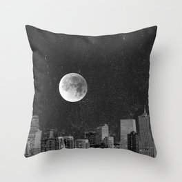 Blood Moon Over Denver Colorado in Black and White Throw Pillow