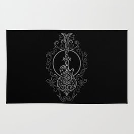 Intricate Gray and Black Electric Guitar Design Rug