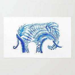 blue elephant watercolor Rug