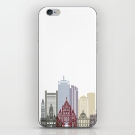 Boston skyline poster iPhone Skin