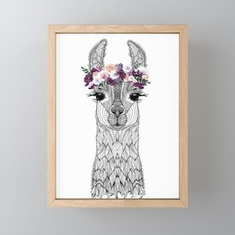 FLOWER GIRL ALPACA Framed Mini Art Print
