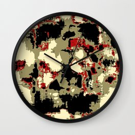 vintage psychedelic geometric painting texture abstract in red brown black Wall Clock