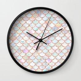 Pastel Memaid Scales Pattern Wall Clock
