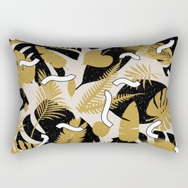 Tropical Jungle with Golden Leaves Rectangular Pillow