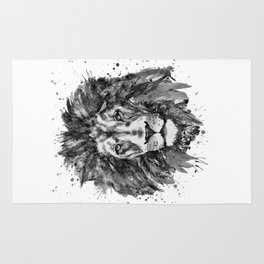 Black and White Lion Head Rug