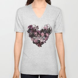 You Are The One // Floral Valentine's Heart Unisex V-Neck