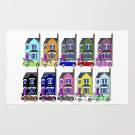 My own Notting Hill / A Victorian House & Retro car Rug