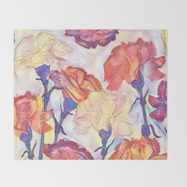 Painted Carnations Throw Blanket