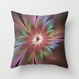 Abstract Fantasy Flower, Fractal Art Throw Pillow