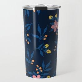 Pink Florals on Blue Travel Mug
