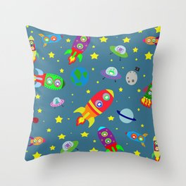 Rockets to the moon Throw Pillow