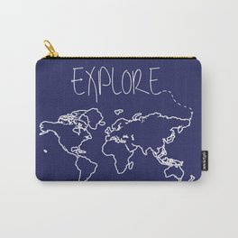Explore World Map - Navy Carry-All Pouch