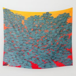 Turquoise tree Wall Tapestry