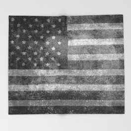 US flag, Old Glory in black & white Throw Blanket