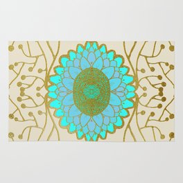 Turquoise and Gold Sunflower Rug