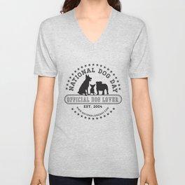 Official Dog Lover; National Dog Day  Unisex V-Neck