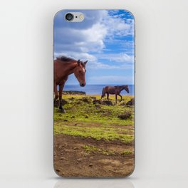 Horses on easter island cliffs iPhone Skin