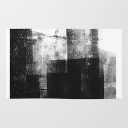 Black White Grey Abstract Monotype Rug