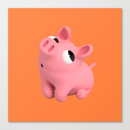 Rosa the Pig Shy Canvas Print