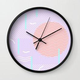 Memphis Summer Lavender Waves Wall Clock