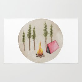 Campfire, Outdoorsy, Camping, Pine Trees, Camp Fire Rug