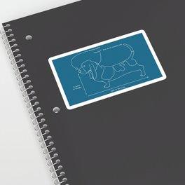Basset Hound Blue Print Sticker